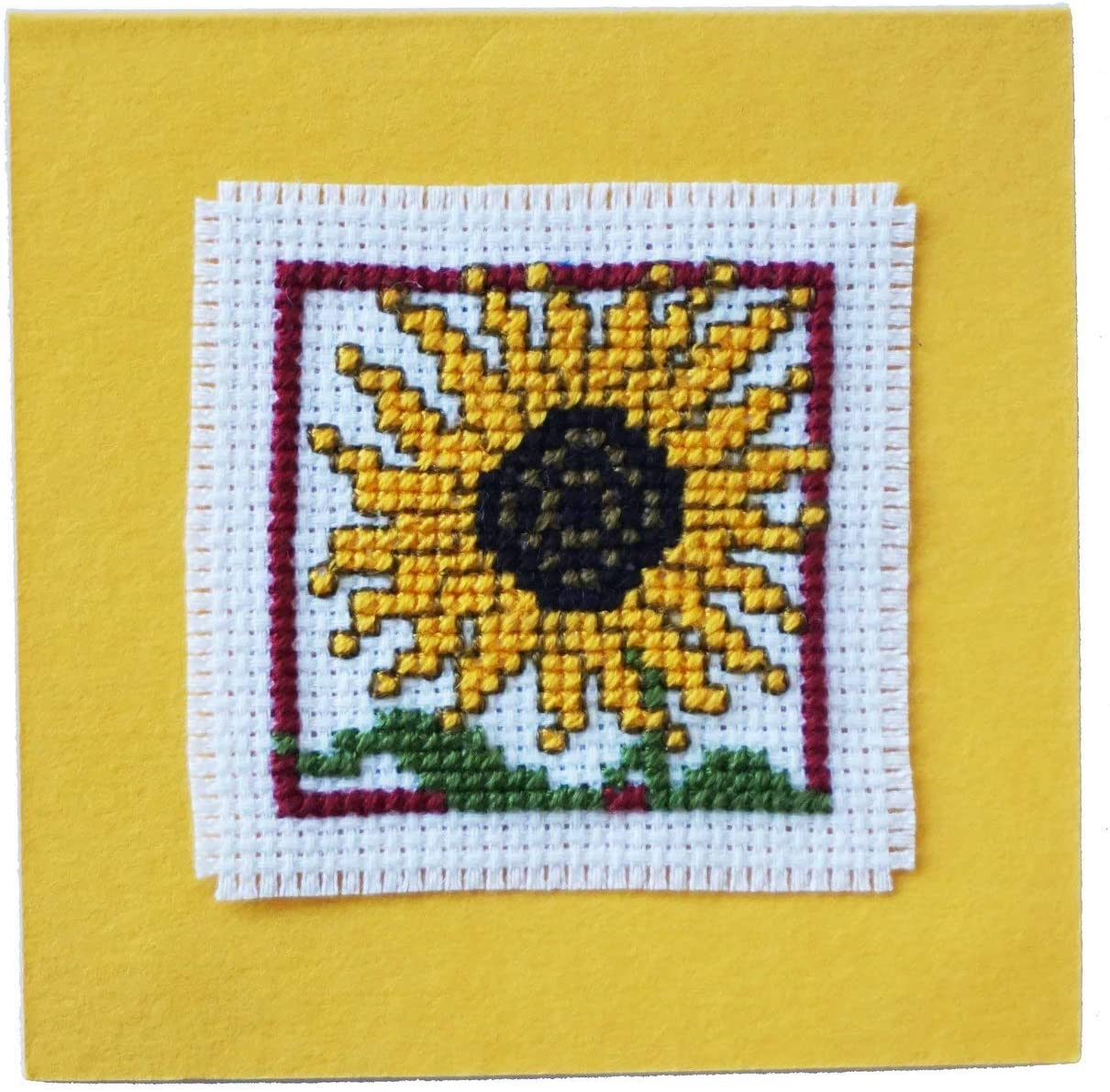 Sunflower Counted Cross Stitch Gift Card Kit by Textile Heritage Craft Kit
