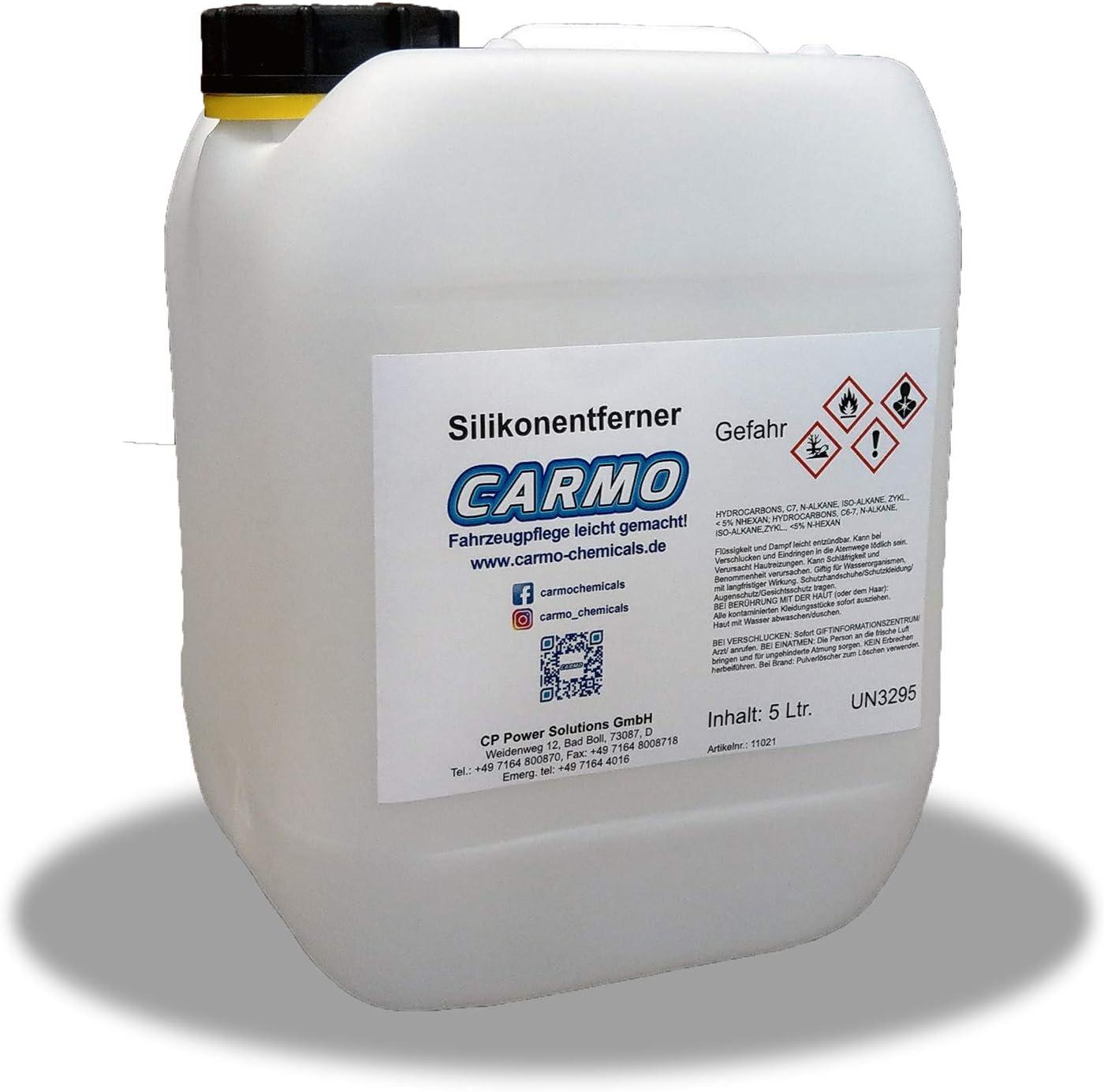 Carmo Silikonentferner Lackreiniger Entfetter Acetonfrei Nicht Korrosiv Hohe Reinigungskraft Entfernt Silikone Fette Öle Polierrückstände Restwachse Uvm 5 Liter Kanister Auto