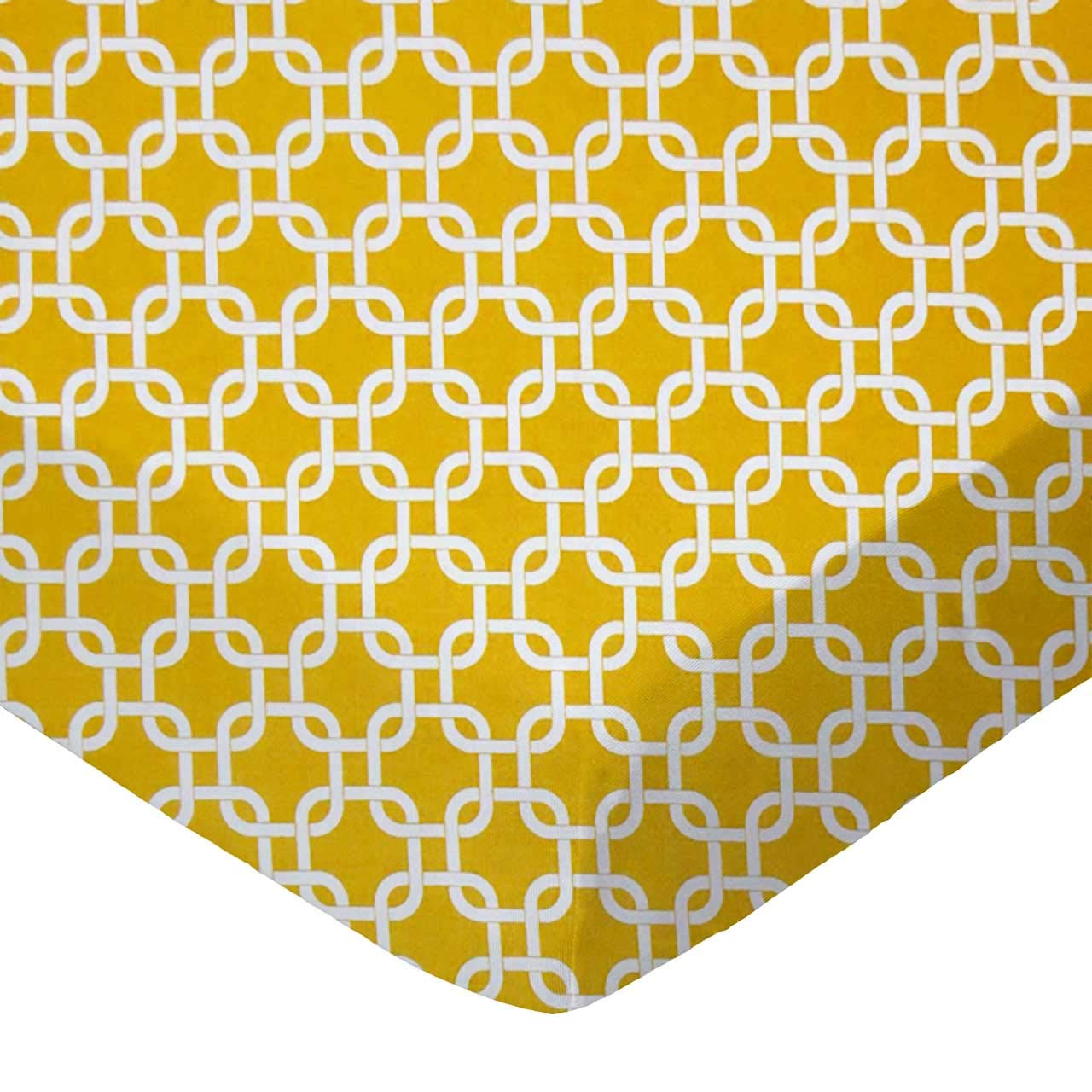 SheetWorld Fitted Crib / Toddler Sheet - Mustard Yellow Links - Made In USA by SHEETWORLD.COM