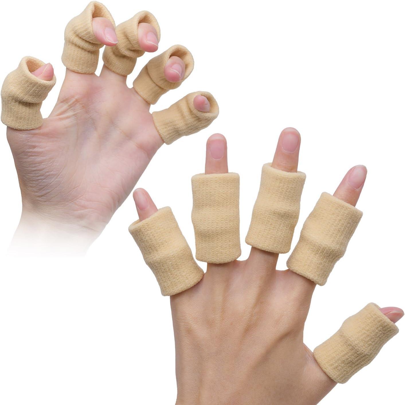 TRIXES 10x Manguitos protectores para dedos, soporte calentamiento estiramiento muscular -ayuda para deportes- Beige