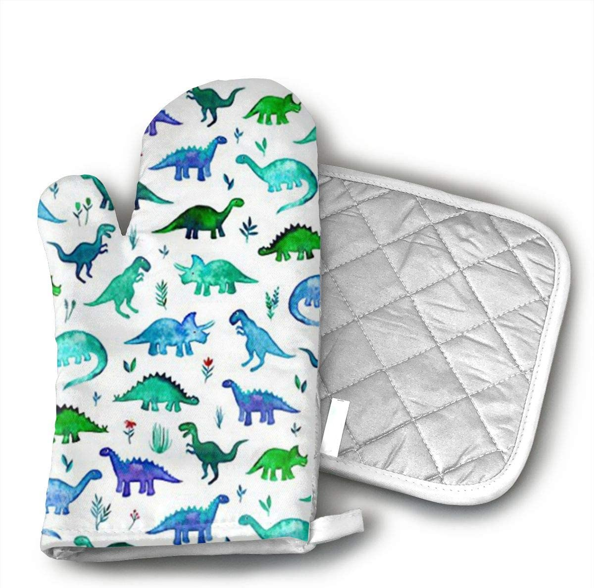 JFNNRUOP Dinosaurs Fabric Tiny Dinos in Blue and Green Oven Mitts,with Potholders Oven Gloves,Insulated Quilted Cotton Potholders