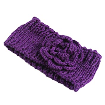 Amazon Phenix Dan Womens Big Flower Wide Knitted Headband