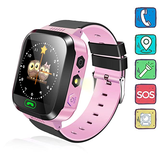 Kids Watch, Camera Kids Smartwatch, GPRS+LBS Locator, in-time Chatting, Children Phone Watch, Phone Calls, Alarm, SOS, Daily Use Waterproof(Pink)