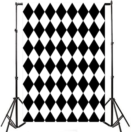 8x12 FT Black and White Vinyl Photography Backdrop,Abstract Composition of Monochrome Geometric Shapes Pattern Grid Squares Background for Party Home Decor Outdoorsy Theme Shoot Props