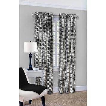 Amazon.com: Greek Key Curtain Panel Pair - Black: Home & Kitchen