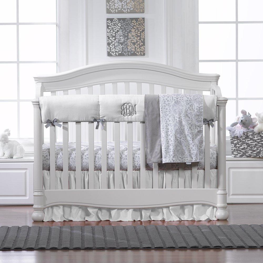 White Woven Crib Rail Cover (Gray Trim)