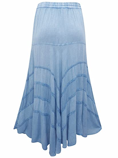 1e48835acefd58 Un-Poco Light Blue Denim Chambray Embroidered Boho Folk Full Midi Maxi  Skirt Plus Size