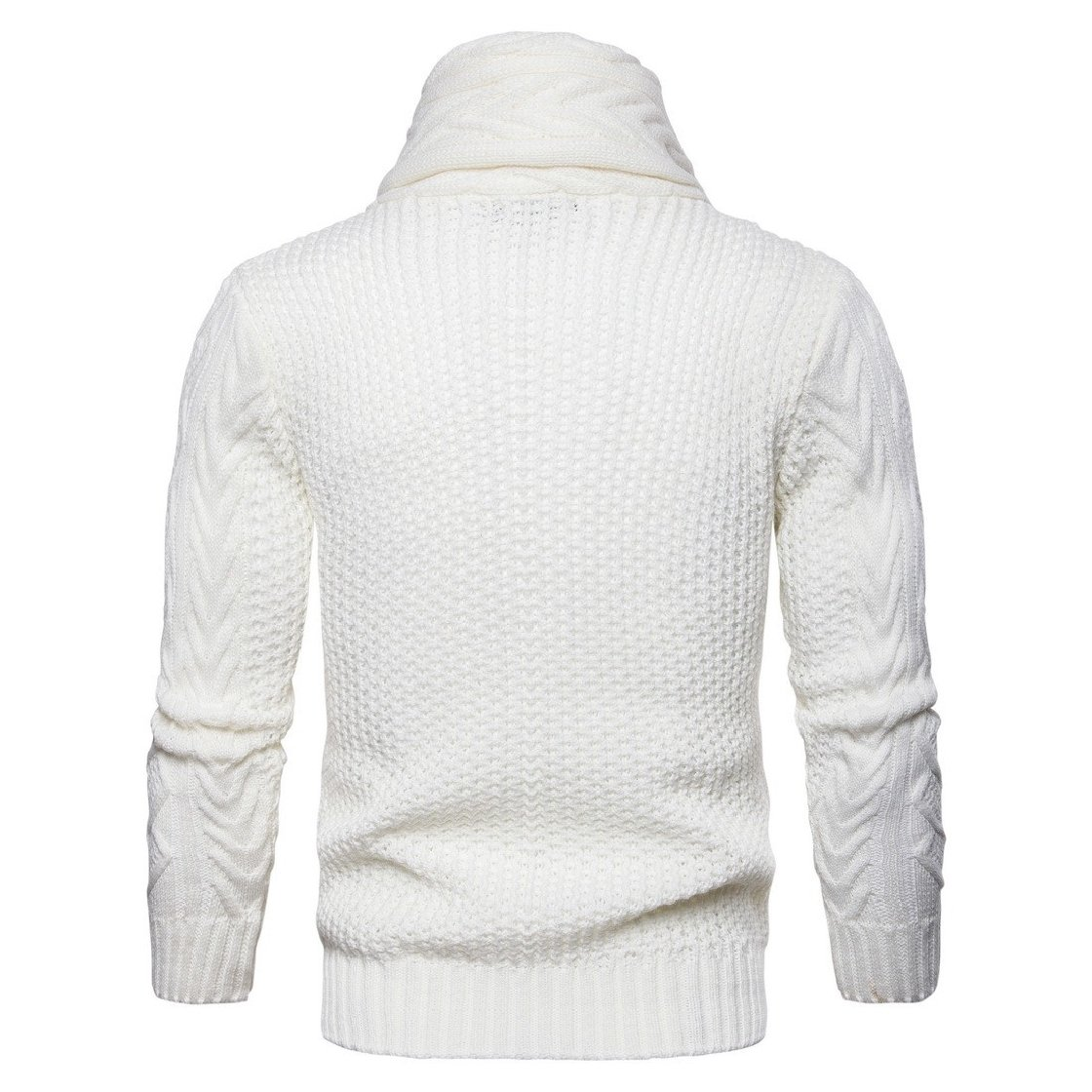 DressU Mens Fashion Lapel Thicken Outwear Casual Knitted Cardi Sweaters