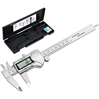 eSynic Digital Vernier Caliper IP54 Waterproof 200 mm/ 8 Inch Stainless Steel Electronic Caliper Fractions/Inch/Metric for Length Width Depth Inner Diameter Outer Diameter