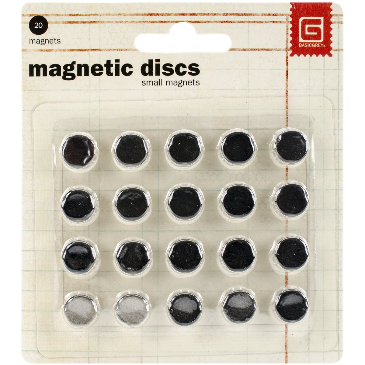 Magnetic Snaps, Small 3.8-Inch, 20 Count Basic Grey MET359