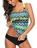 SEBOWEL Women Floral Print V Neck Swim Top Strap Bathing Suit Tankini Swimwear Tops (NO Bottom)