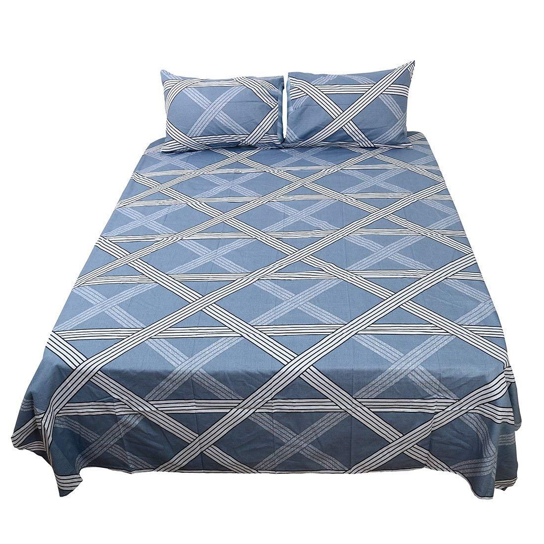 Twin Size, 5   Bed Sheets Set,100% Cotton 4-Piece Checkered Bedding Sets Fitted Sheet Flat Sheet 2 Pillowcase  5 Twin