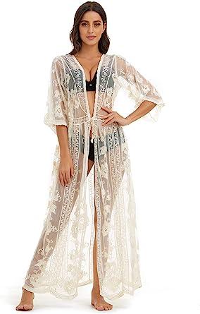 Marysgift Women S Lace Cardigan Floral Crochet Sheer Beach Cover Ups Long Open Kimono Beige At Amazon Women S Clothing Store