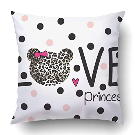 Custom Love Princess Text With Teddy Bear Head Bedding Pattern Design For Girls Pillowcase Cover Cushion