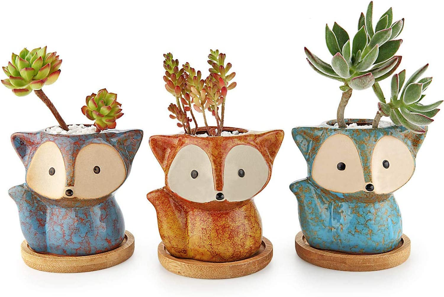 T4U Ceramic Succulent Planter Pot, Fox Shaped Cute Cactus Plant Pot with Bamboo Tray for Home Office Desk Decoration Birthday Wedding with Transmutation Glaze, Set of 3(Multi Set)