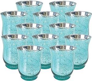 Just Artifacts Mercury Glass Hurricane Votive Candle Holder 4.5-Inch (12pcs, Speckled Aqua)