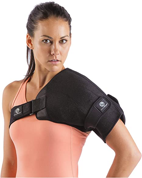 ActiveWrap Shoulder Ice Pack Wrap With Two Reusable Hot & Cold Packs - Rotator Cuff Ice Therapy - Small/Medium