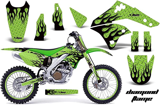 AMR Racing MX Dirt Bike Graphic Kit Sticker Decals Compatible with Honda CRF50 2004-2013 Diamond Flame Green