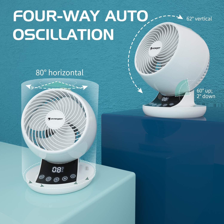 Escritorio 12 Velocidades Ajustables Ventilador de Mesa Circulador de Refrigeraci/ón del de Aire Configuraci/ón del Temporizador 12H Control Remoto Panel T/áctil Ventilador Silencioso