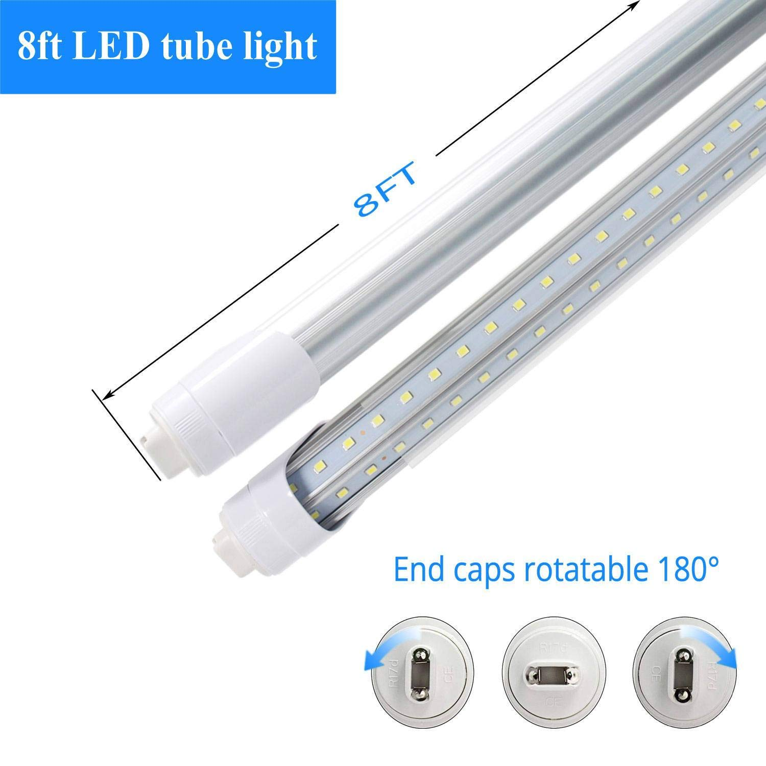 JESLED R17D/HO 8FT LED Bulb - Rotate V shaped, 5000K Daylight 50W, 6750LM, 110W Equivalent F96T12/DW/HO, Clear Cover, T8/T10/T12 Replacement, Dual-Ended Powered, Ballast Bypass, Pack of 12 by JESLED (Image #3)