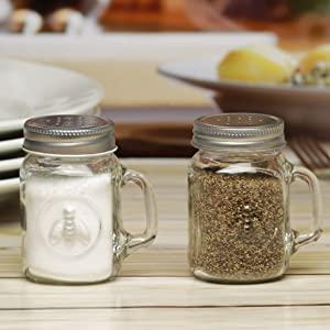 Circleware Honey Bee Mason Jar Mug Salt and Pepper Shakers with Glass Handles and Metal Lids, Set of 2, 5 oz