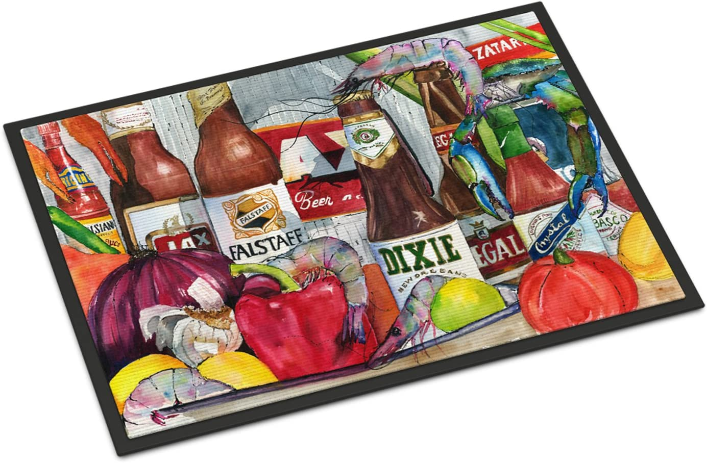 Caroline s Treasures New Orleans Beers and Spices Indoor or Outdoor Doormat, 24 x 36 , Multicolor