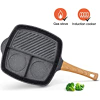 KUTIME 3 Section Grill Pan Griddle Pan Non Stick Skillet 3-in-1 Breakfast Pan Meal Skillet Aluminum Griddle Divided Pan, Suitable for Gas Stove & Induction Cooker