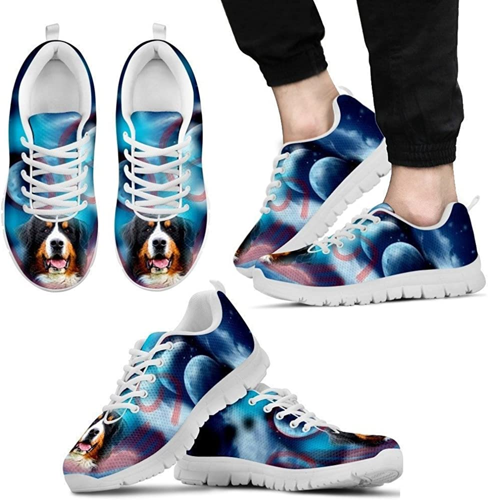 for Bernese Mountain Lovers Pawlice Mens Sneakers-Bernese Mountain Dog Print Casual Running Shoes-
