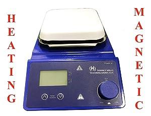 "Magnetic Stirrer Hot Plate | 5.3"" Ceramic Coated Plate, LED Display, 110V, 2L, 380°C Temperature Range with Excellent Chemical Resistance Includes 2 Stir Bars by Torrey Hills Tech"