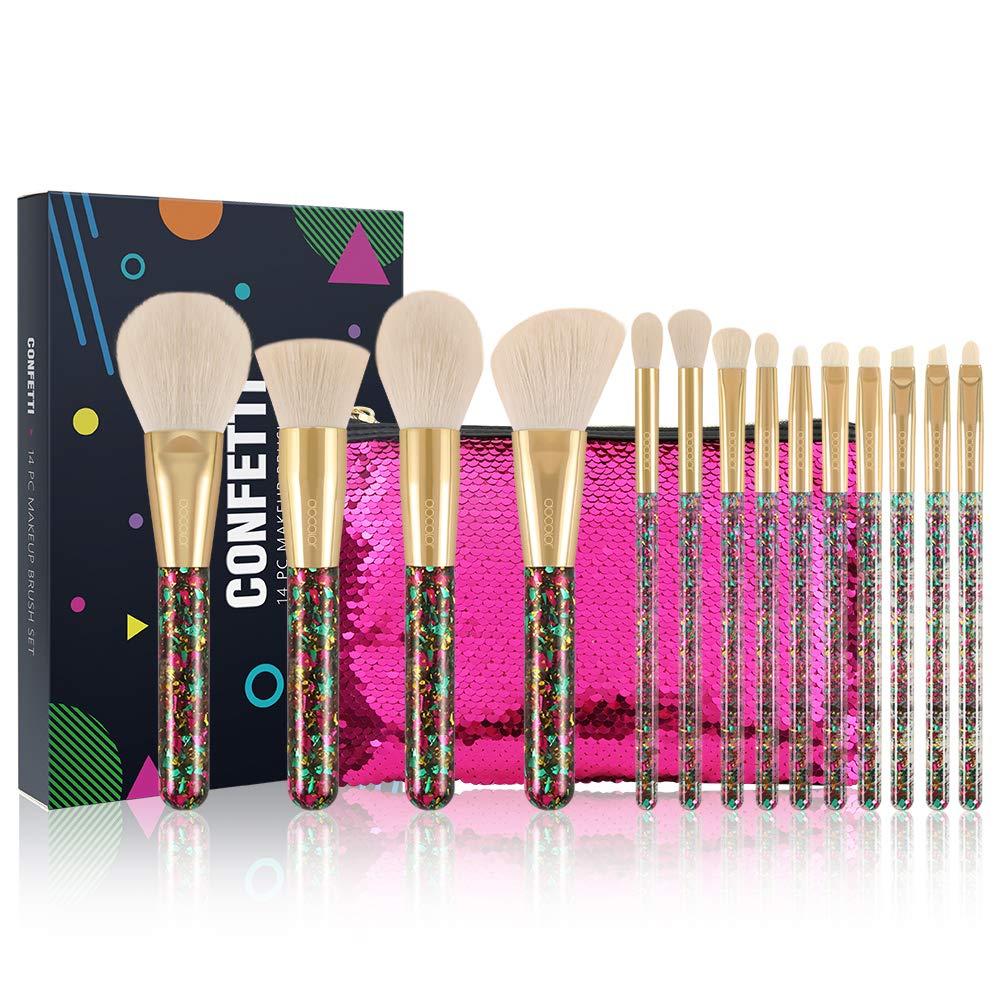 Docolor Makeup Brushes 14Pcs Confetti Makeup Brushes Set Premium Synthetic Foundation Powder Kabuki Brushes Concealers Eye Shadows Make Up Brushes Kit With Gift Bags Box