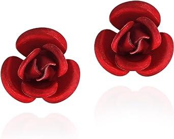 Dainty Flower Stud Earrings Mother/'s Day Gift Pearl Earring Crochet Rose Stud Earring Bridesmaid Gift Red Rose Studs,Rose Earrings