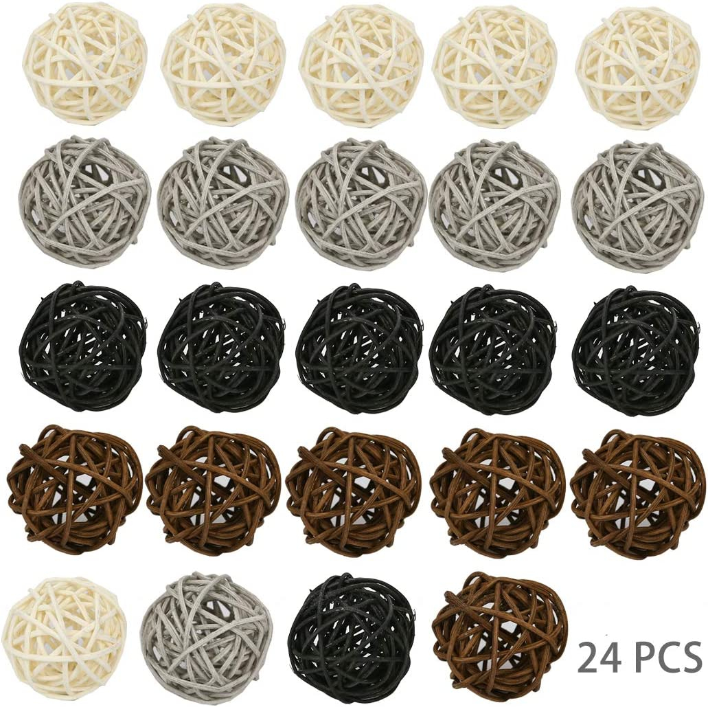 KATELER Wicker Rattan Ball, 24PCS Decorative Balls for Bowls Vase Fillers Vase Filler, Coffee Table Decor, Wedding Party Decoration