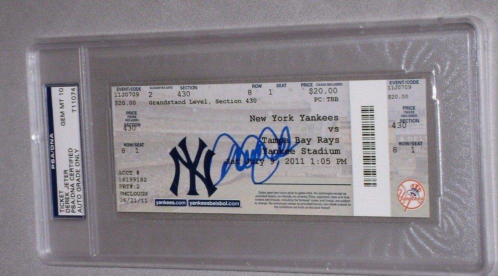 Derek Jeter Autographed Signature 3000 Hit Full Ticket Yankees PSA/DNA Certified Authentic