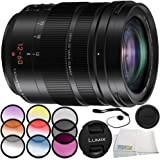 Panasonic Leica DG Vario-Elmarit 12-60mm f/2.8-4 ASPH. POWER O.I.S. Lens 6PC Accessory Bundle – Includes 3 Piece Filter Kit (UV + CPL + FLD) + MORE (White Box) - International Version (No Warranty)
