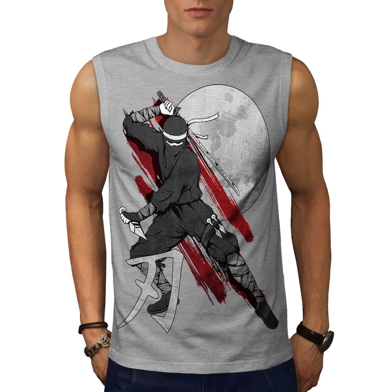 wellcoda Moon Ninja Japan Mens Sleevless T-Shirt, Ninja ...