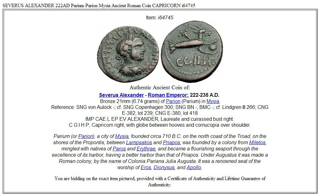 222 IT SEVERUS ALEXANDER 222AD Parium Parion Mysia Ancie coin Good at Amazons Collectible Coins Store