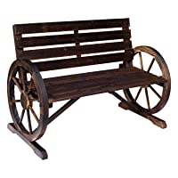 Outsunny Rustic Wood Outdoor Patio Wagon Wheel Bench Seat