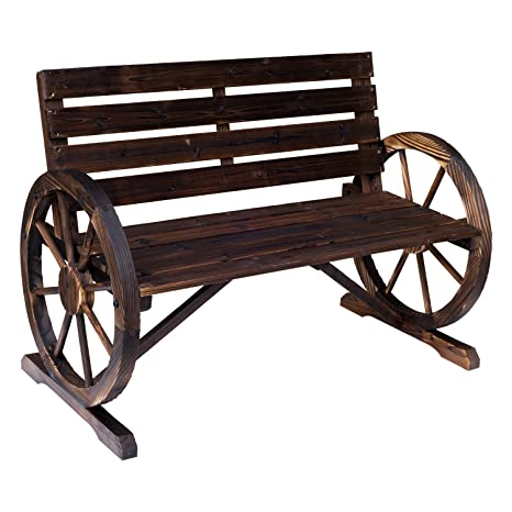 Pleasant Outsunny Rustic Wooden Outdoor Patio Wagon Wheel Bench Seat Andrewgaddart Wooden Chair Designs For Living Room Andrewgaddartcom