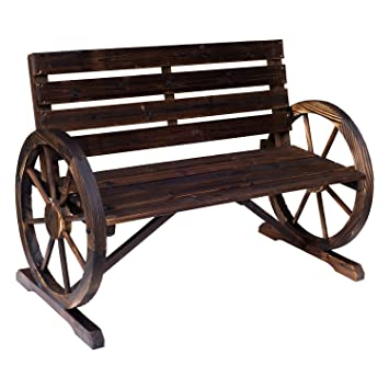 Outsunny Wooden Wagon Wheel Bench Rustic Outdoor Park