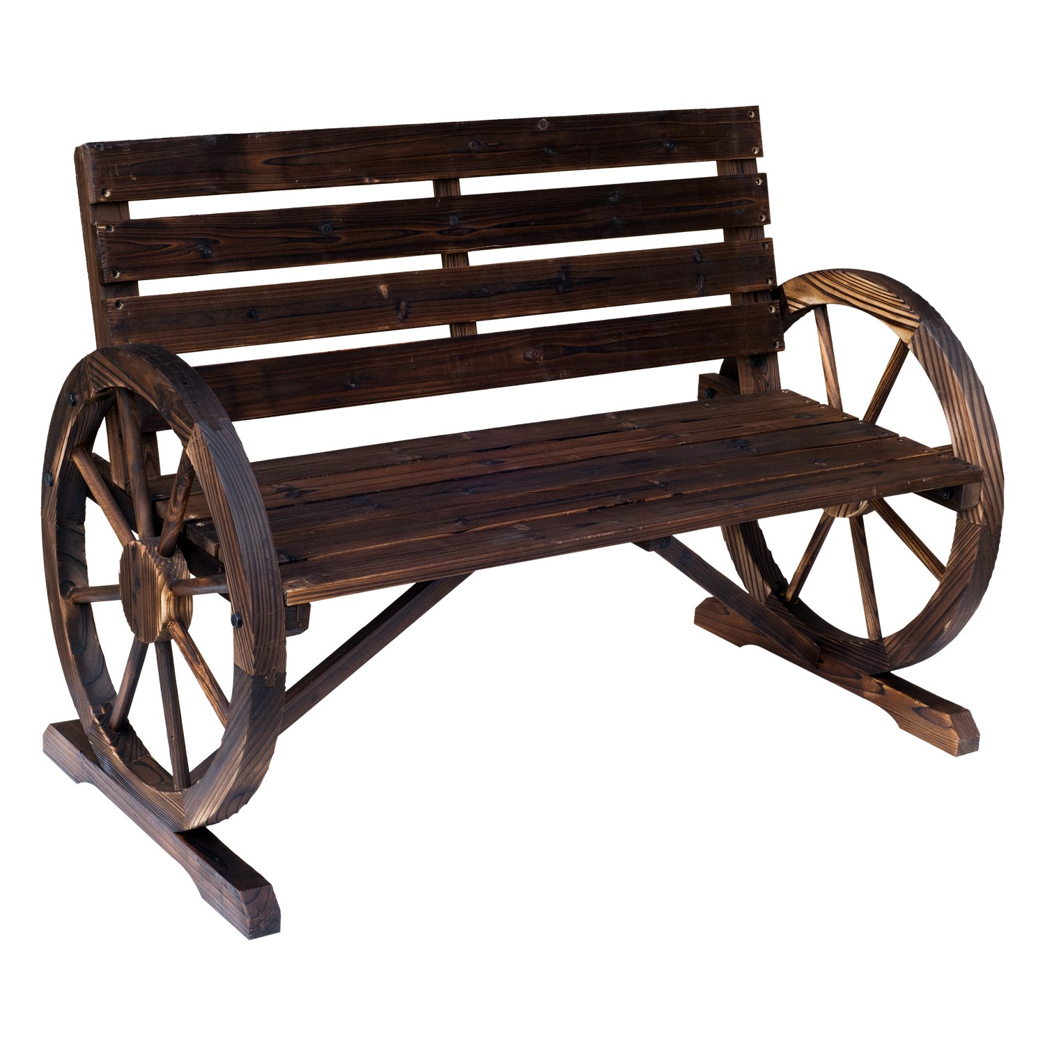 Outsunny Rustic Wooden Outdoor Patio Wagon Wheel Bench Seat