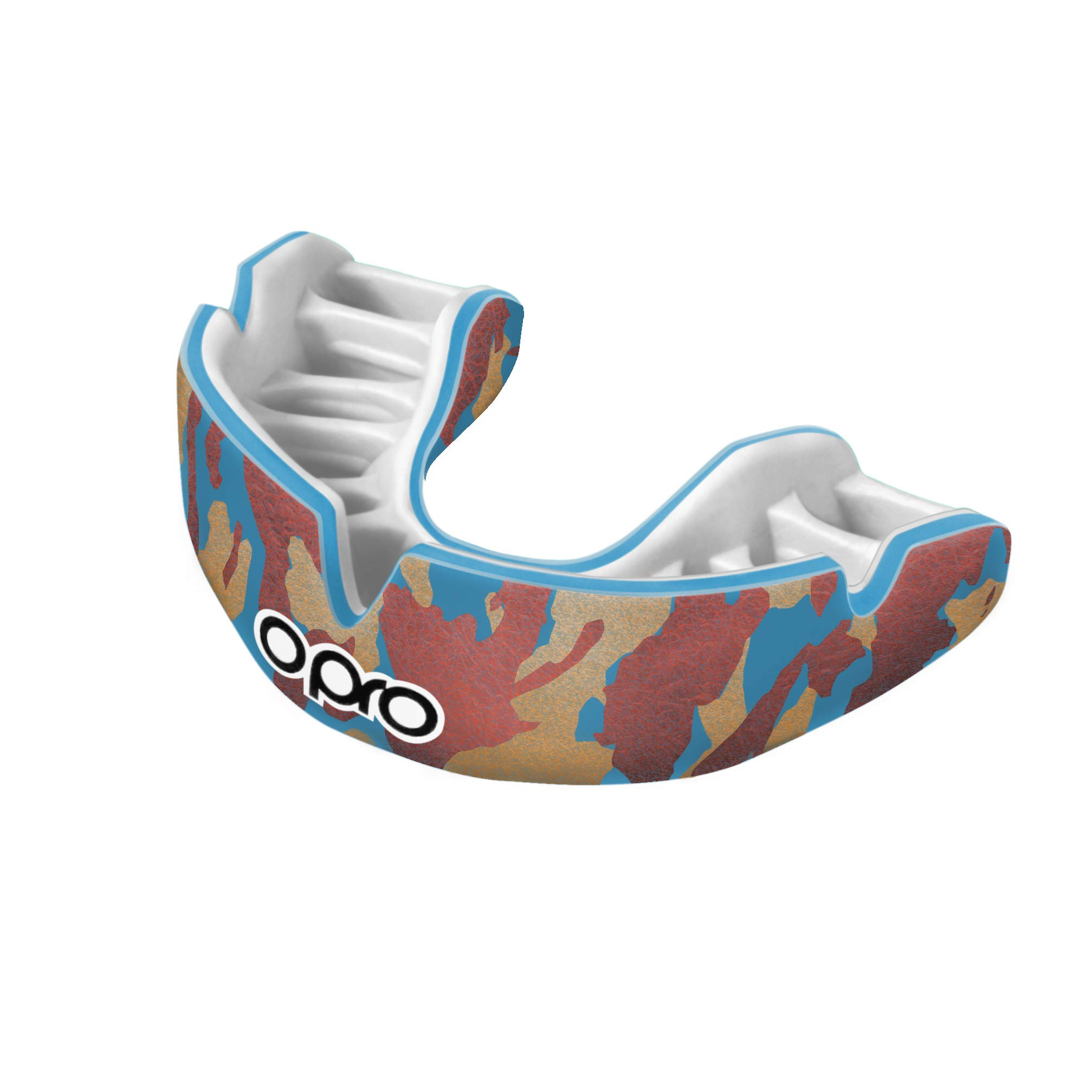 OPRO Power-Fit Mouthguard | Gum Shield for Rugby, Hockey, Wrestling, and Other Combat and Contact Sports (Adult and Junior Sizes) - 18 Month Dental Warranty (Camo - Blue/Orange/Gold, Junior)