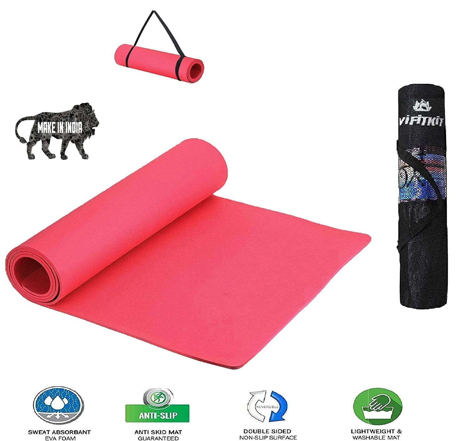 VIFITKIT Non Slip Yoga Mat with Shoulder Strap and Carrying Bag, High Density Yoga mats for Home