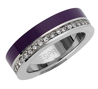Esprit Women Ring stainless steel silver/purple Marin 68 Glam ESRG11565H,  ring size: