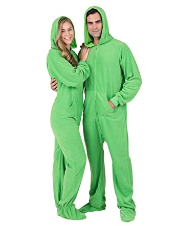 Footed Pajamas - Emerald Green Adult Hoodie Fleece Onesie - Small Plus Wide 17e95a1a9