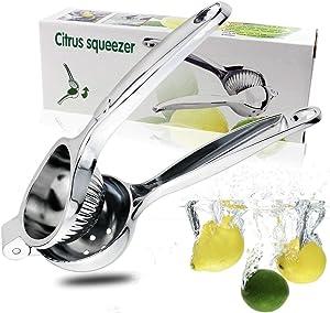 Lemon Juicer Squeezer, Manual Citrus Juicer Squeezer, Lime Orange lemon Juicer Presser with High Strength, Hand Held Lemon Squeezer,Dishwasher safe,Silver