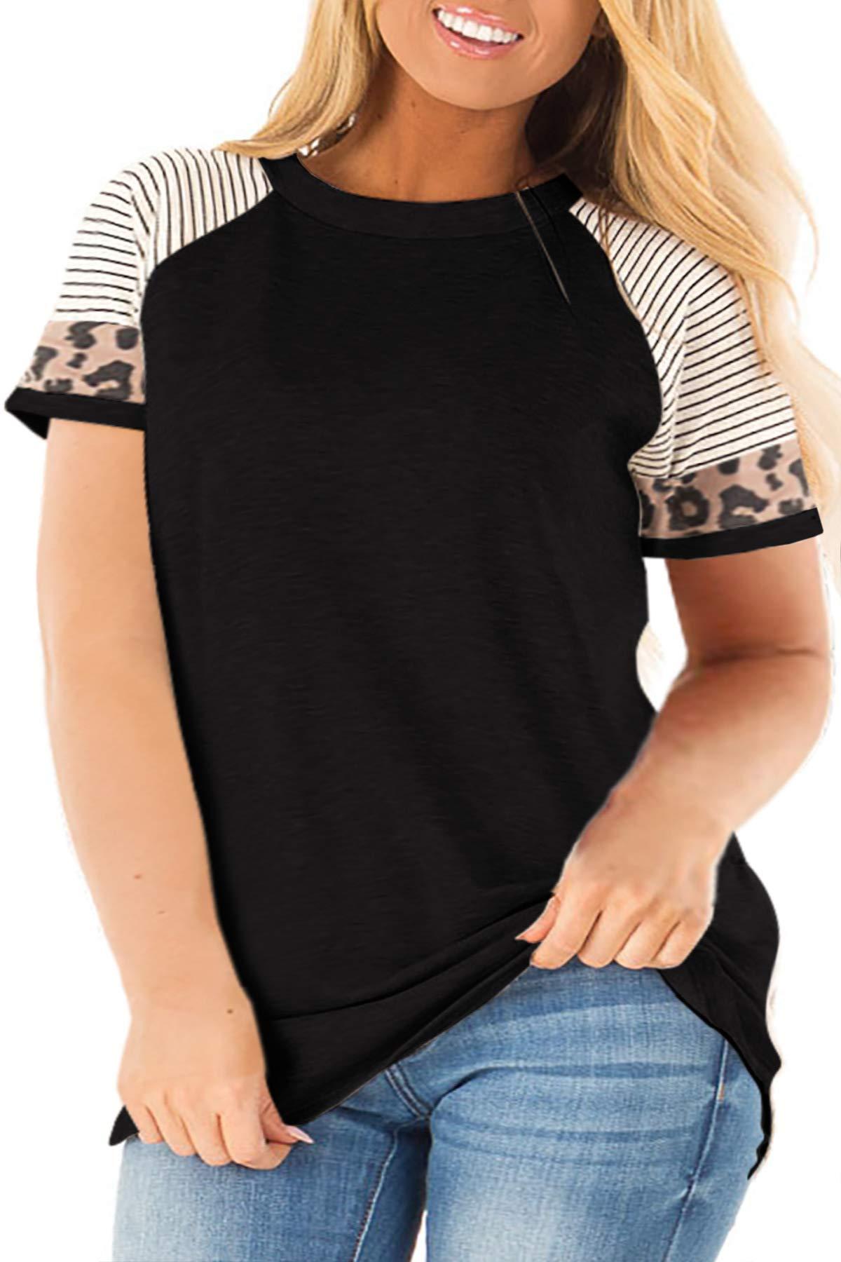 LANREMON Womens Plus Size Leopard Tunic Tops Loose Crewneck Striped Tunic Short Sleeve Color Block T Shirt Blouse