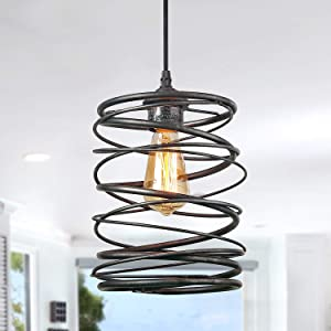 LNC A03292 Pendant Lighting For Kitchen Island,Rustic Farmhouse Brown Rust Cage Hanging Lamp,Black