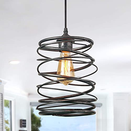 LNC A03292 Pendant Lighting For Kitchen Island Rustic Farmhouse Brown Rust Cage Hanging Lamp,Black