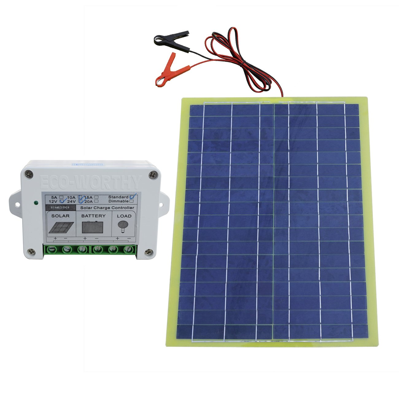 20W Epoxy Solar Panel Kit with 10A Controller for 12V Camping Home Car Battery