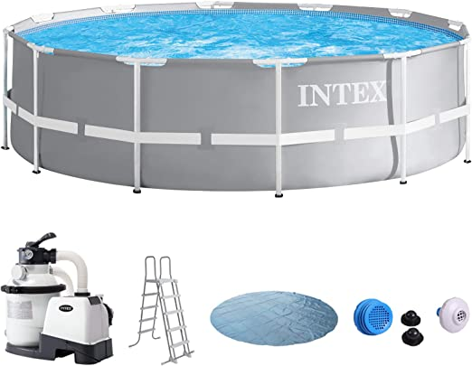 Intex Piscina 366 x 91 con filtro de arena, seguridad Escalera, Solar Lona, Set de conexión para Pool Piscina Frame metal acero pared: Amazon.es: Jardín
